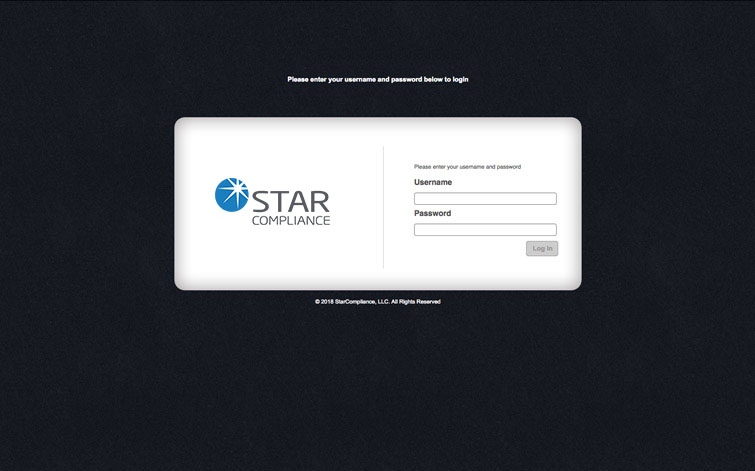 Star Compliance login screen